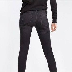 Zara Black Faded Ankle Zip Biker Skinny Jeans